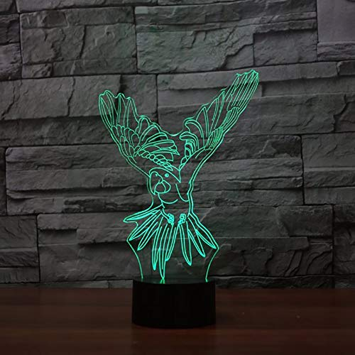 Mozhate Colori Che cambiano 3D Visual USB Flying Parrot Lampada da Tavolo Touch Button Bird Nightlight LED Baby Sleep Light Fixture Bambini Regali di Natale,Remoto e Touch