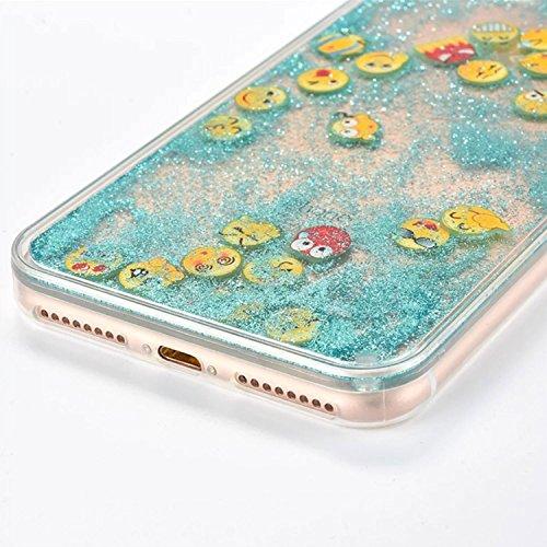 für iPhone 7 Plus Hülle, TPU Handyhülle für iPhone 7 Plus, Vandot Flüssiges Liquid Glitzer Diamant Schutzhülle für iPhone 7 Plus Handyhülle Glitter Bling Shining Luxus Transparent TPU Silikon Zurück C Emoji 03