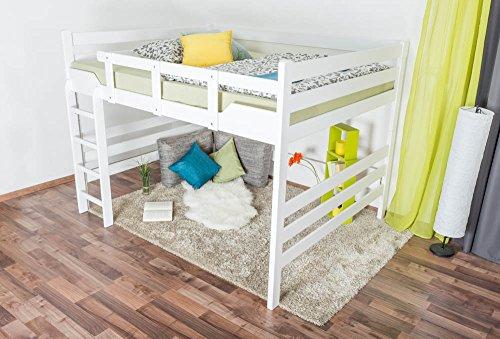 """Hochbett für Erwachsene""""Easy Premium Line"""" K15/n, Buche Vollholz massiv weiß lackiert, umbaubar - Liegefläche: 160 x 200 cm"""