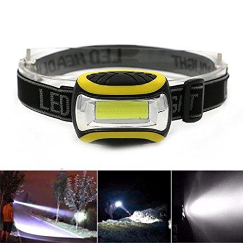 Hirolan Super hell Wasserdichte COB LED 3 Modi Scheinwerfer AAA Taschenlampe Outdoor Wasserdichtes Design zum Beleuchtung Draussen oder Angeln (Gelb)