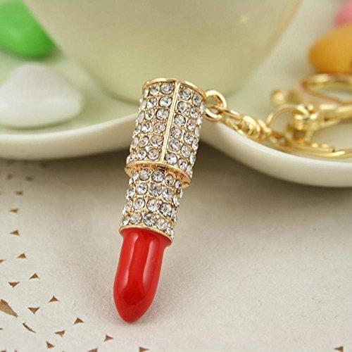 Lips Lippenstift (Arpoador Pop Sexy Diamond Red Lip Lippenstift Schlüsselanhänger Schlüsselanhänger Rucksack Anhänger, Rot)