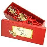 Echte Goldene Rose mit Widmung: Forever Love, überzogen mit 999er GOLD, circa 16 cm, mit Geschenkschatulle und Echtheitszertifikat
