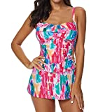 XuxMim Damen Tankini Sets Mit Jungen Shorts Damen Bikini Set Bademode Push-Up Gepolsterter BH(Rosa,XX-Large