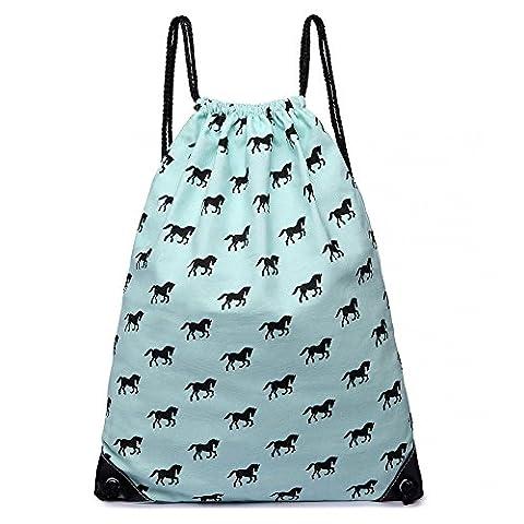 Light Blue Horse Print Canvas Drawstring Slipper PE Gym Fashion Bag
