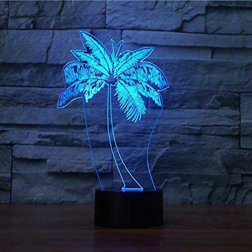 WangZJ 3d Nachtlicht / 3d Lampe / 7 Farben Illusion Lampe/Touch-Schalter/Kinder Baby Raumdekoration/Palme Modellieren (Palme-touch-lampe)