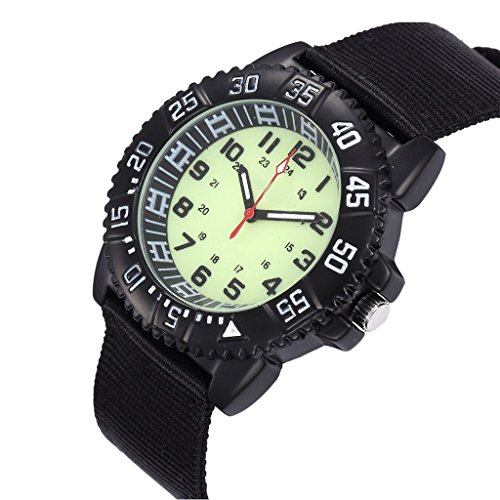 Image of WOLFTEETH Water Resistance Luminous Outdoor Sport Quartz Wrist Watch Military Pilot Aviator Army Style With Breathable Canvas Strap Unisex Style Black 3021