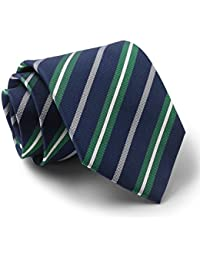 Savile Row Men's Navy Green White Textured Stripe Silk Tie
