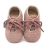 Zapatos de bebé, Zapatillas de bebé niño Anti-Slip Suave Suela de Encaje Zapatos 0-18 Meses (6-12 Meses, Pink)