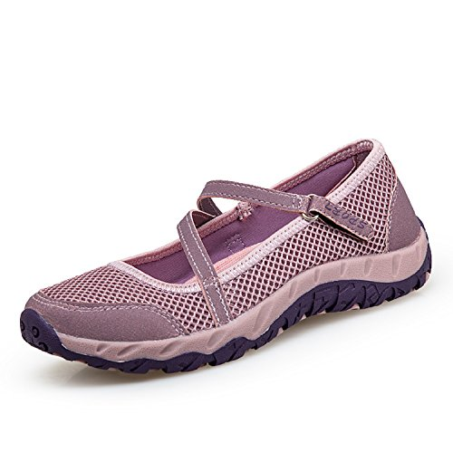 H-Mastery Femme Chaussures de Sport Respirante Léger Mesh Fitness Baskets pour Ballerine Yoga Marche Outdoor Velcro Mary Janes
