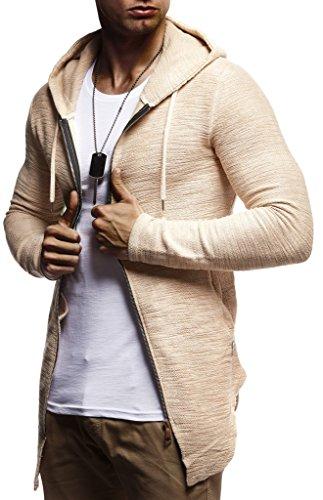 LEIF NELSON Herren Jungen Männer Sweatjacke Hoodie Kapuzenpullover Kapuzen Jacke Freizeitjacke Regenjacke Pullover Sweatshirt Basic Langarm Shirt Hoody LN8195; Größe M; Beige