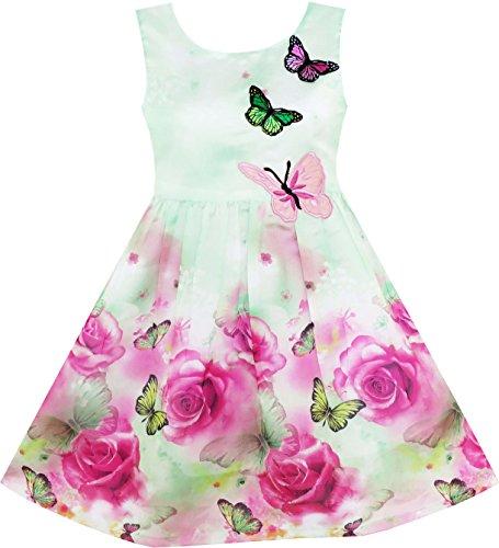 Mädchen Kleid Rose Blume Drucken Schmetterling Stickerei Grün Gr.110