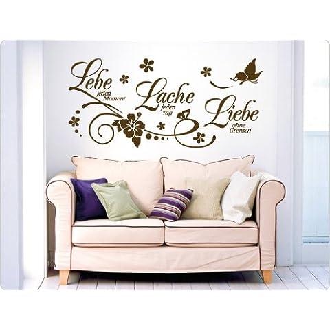 'I-love-Wandtattoo–Adesivo 11503adesivo da parete con scritta vivi ogni momento, ridere ogni giorno, ama senza frontiere.