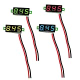 IZOKEE 4 Stück 0,28 Zoll Mini Digital Voltmeter LED-Anzeige, Messbereich DC 2,5V-30V Zwei-Draht Spannungsprüfer, 4 Farben: Rot/Gelb / Grün/Blau