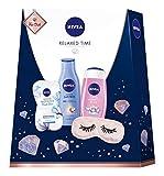 NIVEA Relaxed Time Geschenkset, Set mit Schlafmaske, Body Milk, Pflegedusche und Gesichtsmaske, Pflegeset voller entspannender Wohlfühlmomente