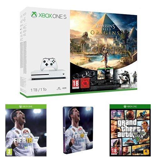 Pack Xbox One S 1 To Assassin's Creed Origins & Rainbow Six : Siege + FIFA 18 + Steelbook FIFA 18 + GTA V