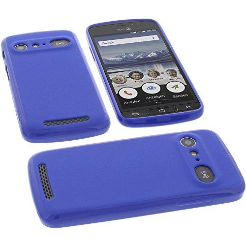 Tasche für Doro 8040 Hülle Gummi TPU Schutz Handytasche blau