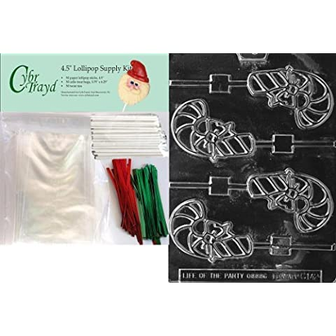 Cybrtrayd 45stK50C-C142 Candy Cane Lolly Christmas Chocolate Mold with Lollipop Kit and Molding Instructions, Includes 50 Lollipop Sticks, 50 Cello Bags, 25 Red and 25 Green Twist Ties by CybrTrayd