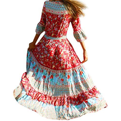 LILIHOT Frauen Sommer Kleid Böhmisch Casual Maxikleid Gedruckt Taille V-Kragen Chiffon Strand Lange Kleider Damen Blumen Kleid Elegant Langarm Floral Print Böhmischen Strand Kleider - Applique Bodysuit