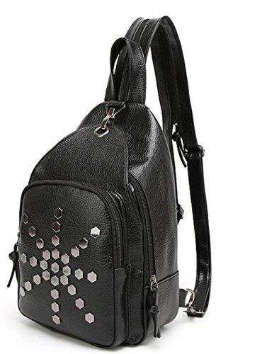 SHFANG Frauen Schulter Rucksack Einfache Brust Tasche Multifunktions Reisetasche Diagonal Spannweite Schwarz 20 * 7 * 30cm , black meter 15 black meter 15