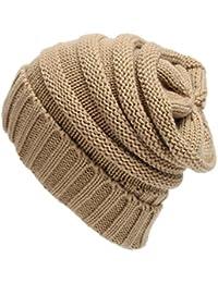 556be8730a73 TININNA Unisexe Hiver Chaud Slouchy Long Beanie Chapeau d hiver Baggy  Bonnet Chapeau Laine Tricoté
