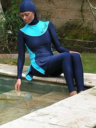 maillot de bain musulman hijab burkini une couverture compl te de qualit sup rieure bleu. Black Bedroom Furniture Sets. Home Design Ideas