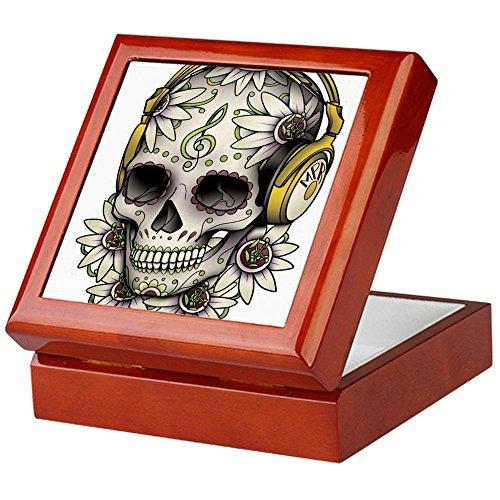 CafePress-Sugar Skull 008-Keepsake Box, fertig Hartholz Jewelry Box, Samt Gefüttert Memento Box mahagoni -