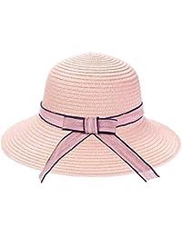 JUNERAIN Donna cappello di paglia Junerian donna nastro fiocco tesa Panama  cappello rotondo top da viaggio 48b10a418f91