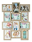 levandeo Holz Bilderrahmen Farbe: Eiche gekälkt hochwertig verarbeitet für 12 Fotos 10x15cm mit Glasscheiben - Querformat und Hochformat Fotogalerie Collage Fotocollage Bildergalerie Fotorahmen