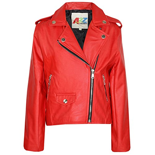 A2Z 4 Kids® Kinder Jacken Mädchen Designer - PU Leather Jacket 460 Red 5-6 (Für Leder-jacke Kids)