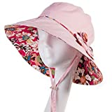 SIGGI Baumwolle beiger Sommerhut UPF 50 + Sun Shade Strand Hut für Frauen Sonnenhüte breite Krempe