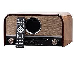 Roadstar HRA-1750D+BT DAB Nostalgie Retro-Radio mit CD / MP3 Player im Holzgehäuse, 80 Watt Musikleistung (Bluetooth, DAB/DAB+, RDS, USB, SD-Karten-Leser, AUX-In), braun