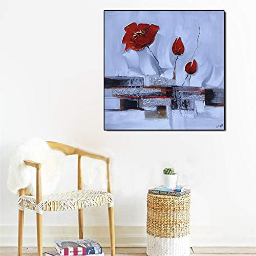 Poster Wandkunst abstrakte Moderne Leinwand Aquarell Blume Wohnzimmer Dekoration rahmenlose Malerei 60x60cm