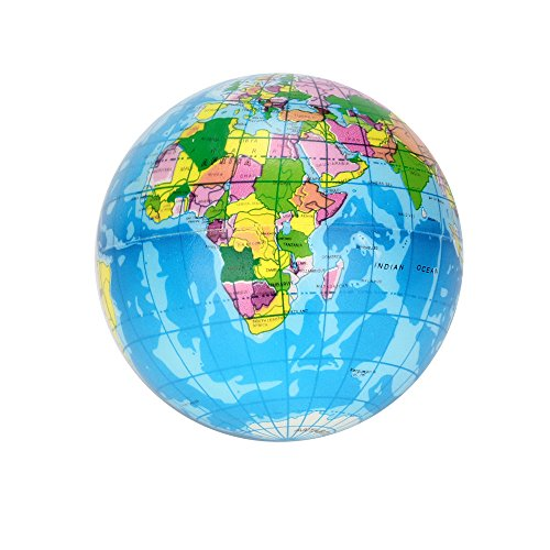 Qomomont Weltkarte Schaumstoff Balls pielzeug Stressabbau Atlas Globus Palm Ball Planet Earth Ball 76mm oder 60mm (Blau, B 60mm)