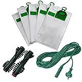 Spar-Set, 12 Microvlies Staubsaugerbeutel + 10 Meter Kabel + 1 Paar Ersatzbürsten geeignet für Vorwerk Kobold 140 / 150 / VK 140 / VK 150 , EB 360 / 370