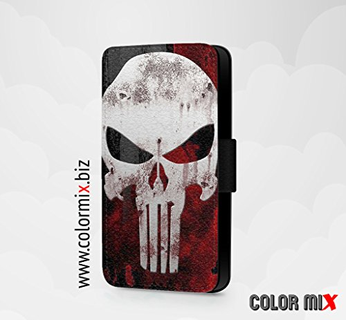 Punisher Marvel Character Super Hero Handyhülle/Klapphülle/Faux Leather Flip Cover für iPhone Samsung Galaxy