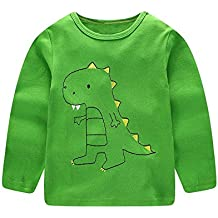 ALIKEEY Niños Kids Boys Girls Cartoon Dinosaur Print Blusa Manga Larga Ropa Lindo ImpresióN Mono Bodies