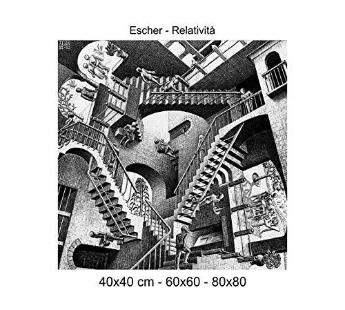 Druck auf Leinwand 100{01e42d057968b60e65e4c2f5c811587f636618a15938e2741ae67a59c4bec8f0} Qualität Italien-Escher-Relativität Holzoptik Geschenkidee Haus Rahmen Küche Raum Schlafzimmer Wohnzimmer 60x60