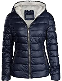 DAMEN WINTER JACKE GEFÜTTERT KURZ STEPP DAUNEN OPTIK KAPUZE SKIJACKE WARM NEW