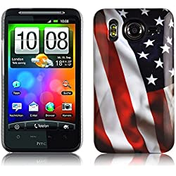 Cadorabo - Etui Coque Rigide > HTC Desire HD < - Case Cover Bumper Design: USA Flag