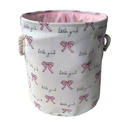 Fieans Faltbare Aufbewahrungskorb Baumwolle Wäschekorb Wäschesammler Rund Aufbewahrungsbox für Spielzeug, Kleidung, Kinderzimmer - Bowknots, Weiß -