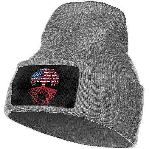 Tracray Amerikaner gewachsen mit Flagge der albanischen Wurzel-UnisexBeanie-Hut-warmen Hut-Schädel-Kappen-Strickmütze Albaniens
