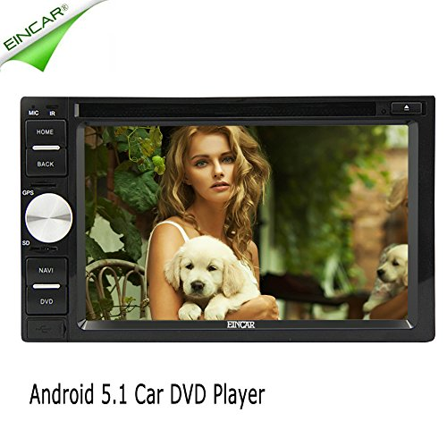 EinCar Android 5.1.1 OS doppio DIN lettore DVD 2 DIN auto in Dash Car Stereo FM / AM ricevitore radio RDS con 6.2 pollici testa unità touchscreen capacitivo per 1080P Video Multimedia Player