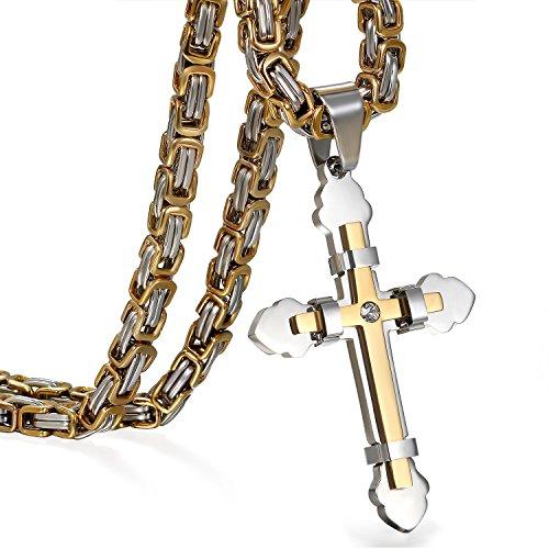 Cupimatch Kreuz Kette Herren Halskette Panzerkette Männer Anhänger Man Edelstahl Hals Schmuck 65cm für Jungen, Gold