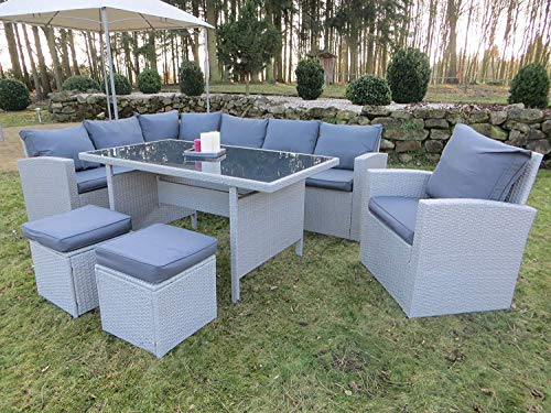 """Hohe Dinning Poly Rattan Lounge inkl. einem Sessel und zwei Hocker """"Milos XL"""" auch spiegel"""