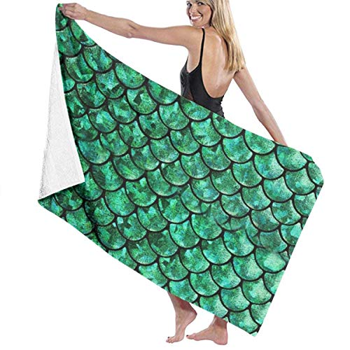 Badetuch, Luxury Microfiber Polyester Bath Towels, Green Fish Scales Towel Sheet, Natural & Eco-Friendly, Water Absorbing, Quick Dry, Washable Towel Travel Towels Ideal for Gym Yoga Sports