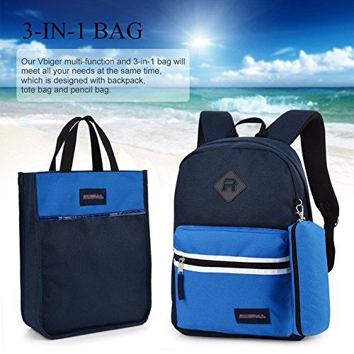 Imagen de vbiger  escuela para niños y niñas 3 in 1 con cartuchera y bolso de mano azul  alternativa