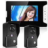 HITSAN ENNIOSY813MK21 7inch TFT LCD Video Door Phone Doorbell Intercom Kit 2 Cameras 1 Monitor Night Vision One Piece