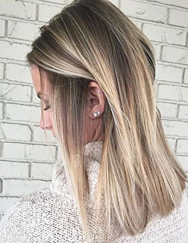 Best Hair Color-highlights (Moresoo 14Zoll Human Hair Lace Front Wig Brazilian Hair Wavy Layered Haircut 130% Density With Baby Hair Glueless Natural Hairline Ombre Hair Brown to Blonde Highlight Hair Color)