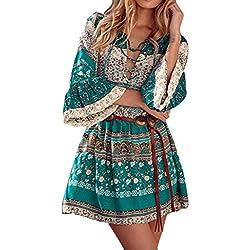 Vestido Amlaiworld Mujer Vestido de Boho con estampado floral (Tamaño Asiático: L, Verde)