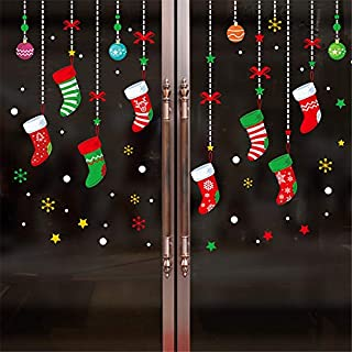 Beodole Christmas Background DIY Lovely Socks Wall Sticker Decal Wallpaper for Window Door Home Decor (Multicolor)